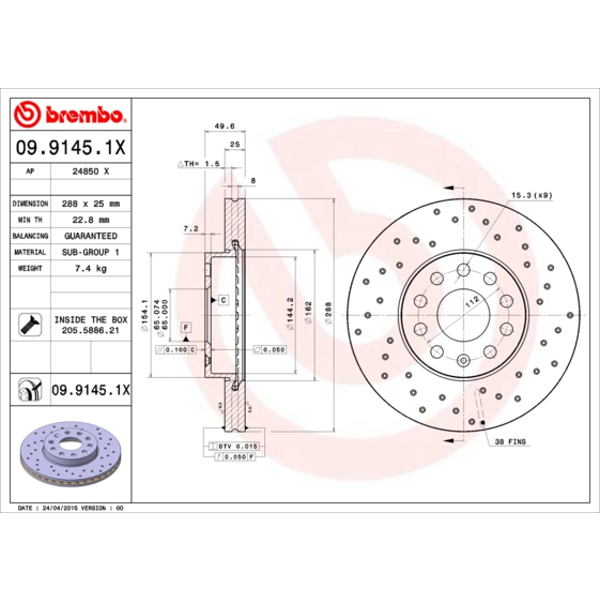 Bremsscheibe BREMBO XTRA LINE BREMBO 08.A202.1X